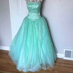 Tulle Embellished Prom Floral Ballgown Corset S